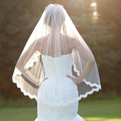Fashion White Wedding Bridal Veil One-tier Fingertip Veils Lace Applique Edge