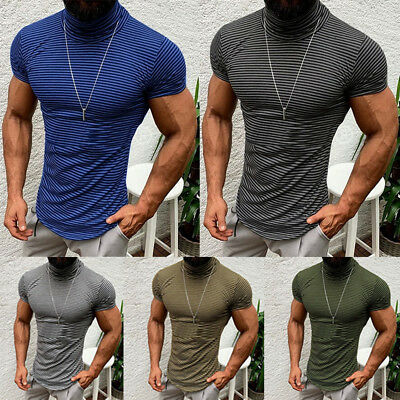 USA Fashion Men Casual Short Sleeve Slim Fit Shirts High Neck Top Blouse T-Shirt
