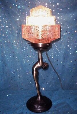 VTG ART DECO NYMPH LAMP PALE PINK CRACKLE SKYSCRAPER SHADE FrankArt SARSAPARILLA