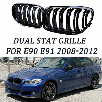 Gloss Black Front Kidney Grill Grille for 08-12 BMW 3-Series E90 E91 Facelift