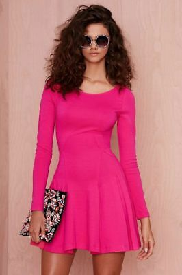 3c2561cf29 Nasty Gal Dress Womens Size XL Pink Fit Flare A Line Long Sleeve Cocktail  NWT