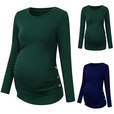 Women Pregnancy Shirt Long Sleeve Side Ruched Solid Tops Casual Maternity  Blouse 1760bdf8322e