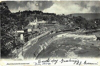 Postcard 1906 PA Mauch Chunk From Mountain Road Train Railroad Way Buildings