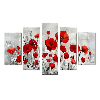 Large Framed Red Flower Abstract Oil painting Canvas Wall Art Modern Home Decor