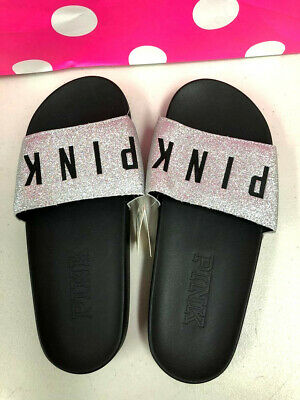 34addc6f5568 VICTORIA S SECRET PINK Glitter Silver Single Strap sparkly slides Sz ...