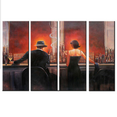 Large Framed Modern Deco Abstract Art Oil Painting On Canvas Cigar Bar Men Woman