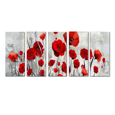 Framed Large Modern Wall Art Flower Red Abstract Oil Painting Canvas Home Decor