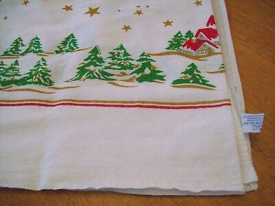 Vintage RARE Mid Century Christmas Tablecloth tablecloths BRAZIL Regal TREES