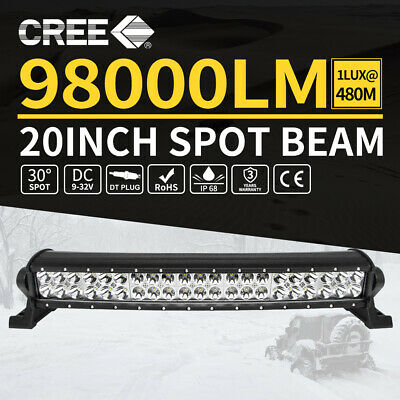 20inch Curved CREE LED Light Bar Spot Beam Dual Row Work Driving Lamp 4WD 20""