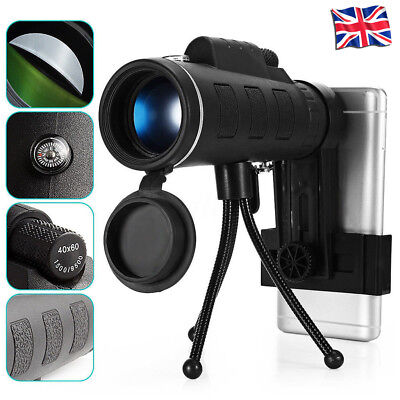 40X60 Focus Zoom HD Optics Lens Monocular Telescope+Tripod+ Clip For Smart Phone