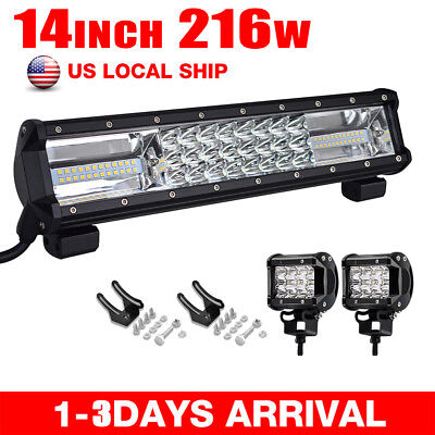 14inch 216W Spot Flood LED Work Light Bar Offroad Driving SUV +2*36W PODS