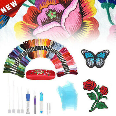 72 in 1 + 50 Thread Embroidery Needle Pen Kit Set Craft Punch Magic DIY Knitting