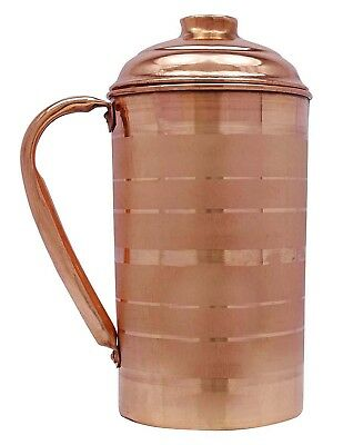 Pure Copper Water Jug Ayurvedic Hammered Copper Smooth Water 1.5 Liter-1500ml