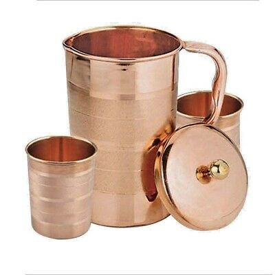 Pure Copper Water Jug Copper Smooth Water 2 GLASS Ayurveda Health Benefit