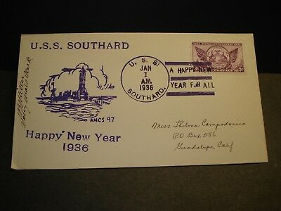 USS SOUTHARD DD-207 Naval Cover 1936 HAPPY NEW YEAR Cachet