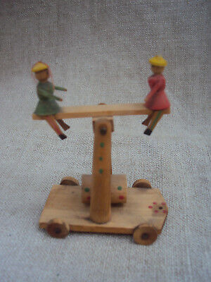 Antique Erzgebirge Wood German Putz Penny Toy See Saw 3""