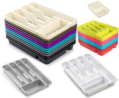 Large CUTLERY TRAY Flatware Organiser Strong Plastic Drawer Sliding Tidy