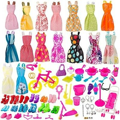 Doll Clothes Set 130 Pcs Huge Lot Gown Outfits Party Accessories Barbie Girl