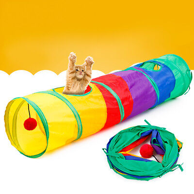 Foldable Rainbow Cat Play Tunnel Collapsible Portable Kitten Pet Playing Toy