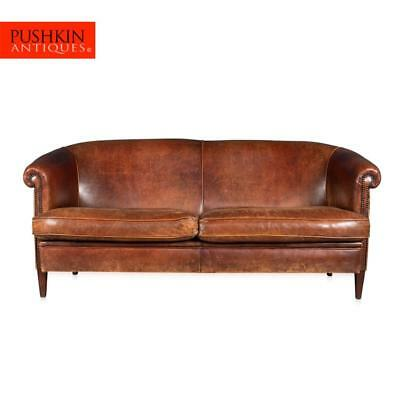 ELEGANT 20thC DUTCH THREE SEATER SHEEPSKIN LEATHER SOFA