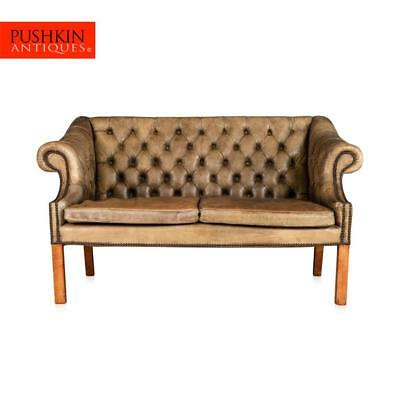ELEGANT 20thC ENGLISH BUTTON BACK TWO SEATER SOFA