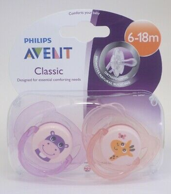Philips Avent Classic Soother Twin Pack - Age 6-18m+ (Hippo / Giraffe)  (2736)