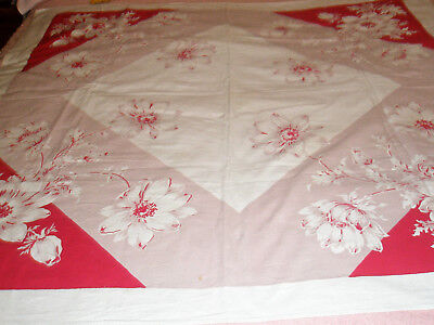 Vintage Tablecloth Red White Floral 48 x 50