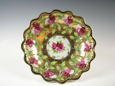 Gorgeous Antique signed Nippon Gold Bowl with Hand Painted Roses
