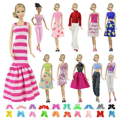 Fashion 5 Sets Dress Clothes Mix Shirt & Pants 5 Pairs Shoes For 11.5 inch Doll