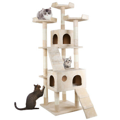 """73"""" Cat Tree Condo Furniture Scratch Post Pet Play House Home Gym Tower Biege"""
