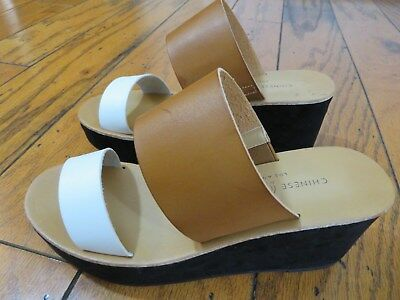25f048b65c6 Chinese Laundry Womens Ollie Wedge Slide Sandal Natural Smooth Size 8 M US