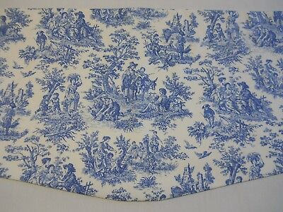 NEW~BLUE/IVORY~WAVERLY CHARMED LIFE CORNFLOWER TOILE Scalloped Valance CURTAINS!