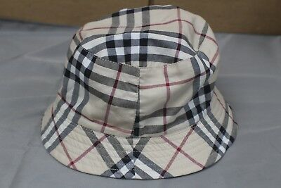 BURBERRY REVERSIBLE CHECK Bucket Classic Plaid Hat Beige Pre-Owned ... 93d3bd22435