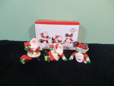Fitz and Floyd Holiday Cheer 3 Santa Presents Tumblers W/ Box FF Christmas Decor