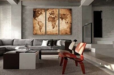 Large Earth Antique World Map Canvas Vintage Decor 3 Panel Globe Wall Decoration