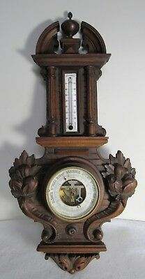 Antique French Barometre Barometer Thermometre Aneroide Beautifully Carved 26""