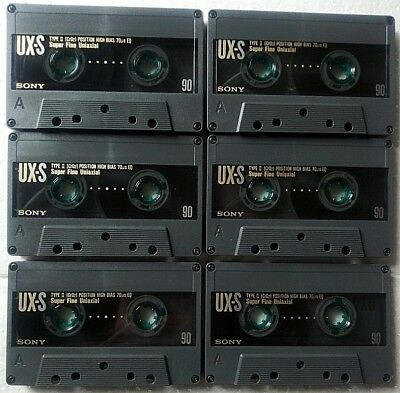 6 x SONY UX-S 90 (type II) 1990 - Super Chrome Class - CASSETTE TAPES USED