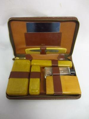 Vintage RUMPP Mens Travel Grooming Kit Brown Leather Case Plastic Containers