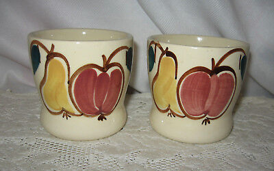 2 Vintage Purinton Pottery Cups No Handle Fruit Pattern ~ Apple & Pear
