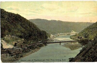 Postcard Thurmond W VA 1900's Gen View Thurmond New River Bridge Looking East