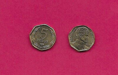 Chile Rep 5 Pesos 1998 Unc 8 Sided Coin,bernardo O'higgins Bust Right,denominati