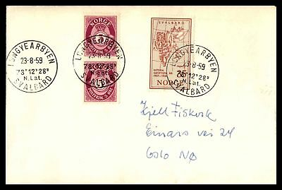 Longyearbyen Norway August 23 1959 Svalbard Cancel On Cover Vertical Pair