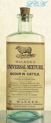 Nice AQUA antique WALKER'S MIXTURE for CATTLE bottle w/pic SHEEP - a speedy CURE