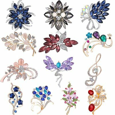 Flower Rhinestone Brooch Pin Women's Wedding Bridal Bouquet Crystal Jewelry Gift