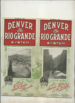 1908 Denver & Rio Grande System Railroad Timetable And Route Map