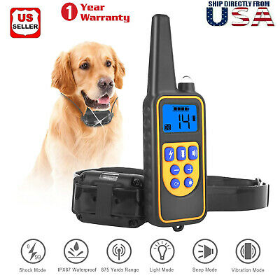Pet Dog Training Collar With Remote Electric Shock For Large 875 Yard Waterproof