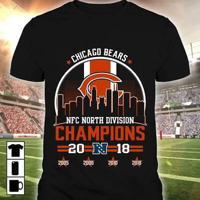 0184a8d76 2018 NFC North Division Champions Chicago Bears Football NFL T-Shirts Men  M-3XL