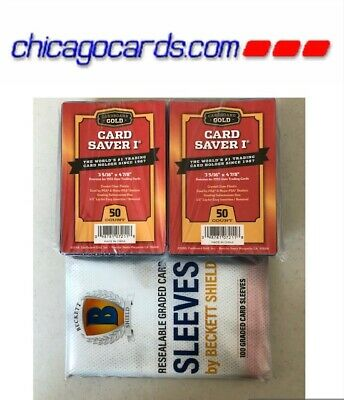 100 Card Saver I (1)+ 100 UltraPro Graded Card Sleeve Resealable Lip for PSA BGS