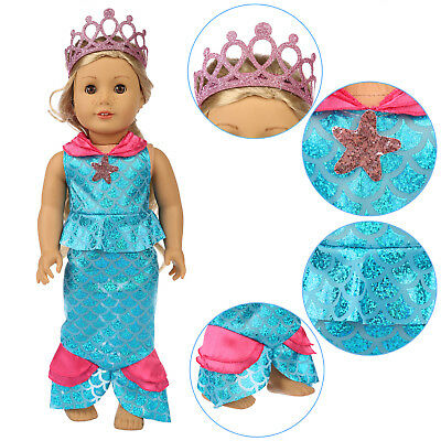 Mermaid Clothes Dress Crown Outfits Costume For America 18 inch Girl Doll Gift