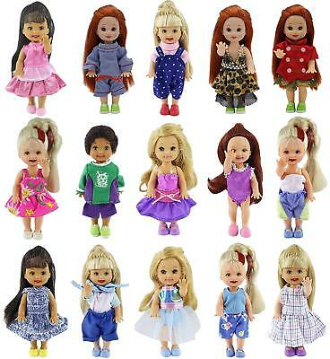 6 Set Handmade Cute Clothes Dress Outfit for 4 inch Kelly Doll Tops Pants Shirts
